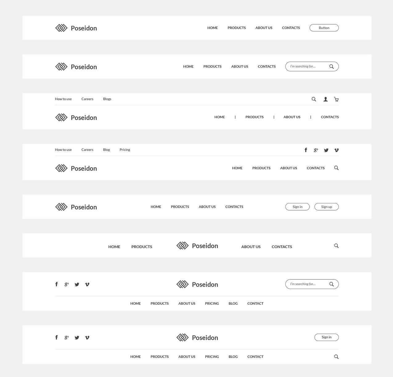 Różne układy nawigacji w widoku komputerowym