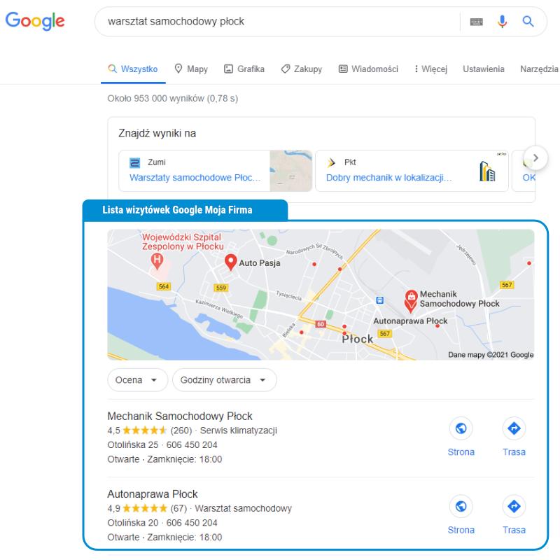 Wizytówki firmowe wwynikach wyszukiwania Google