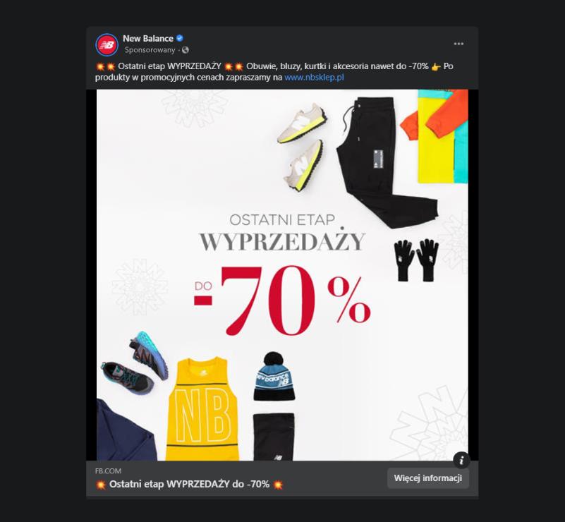 Przykładowa reklama w serwisie Facebook
