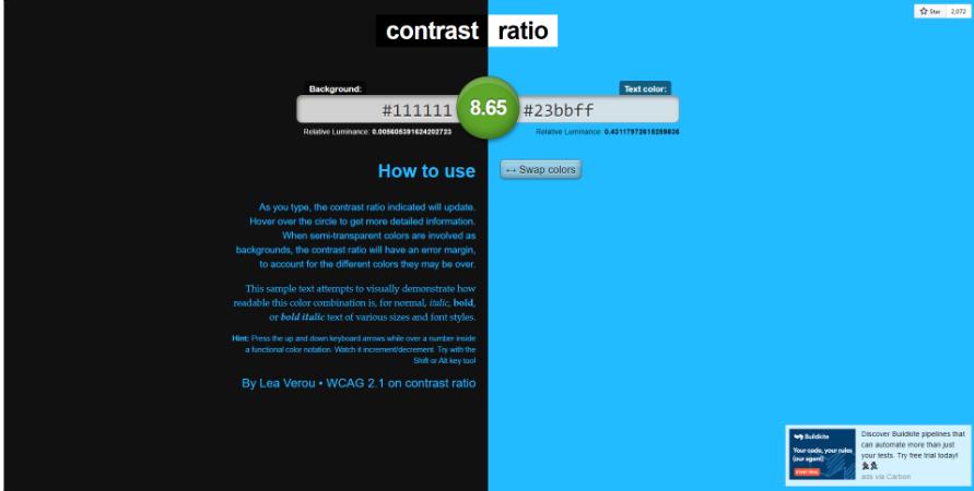Zrzut ekranu z aplikacji badającej kontrast