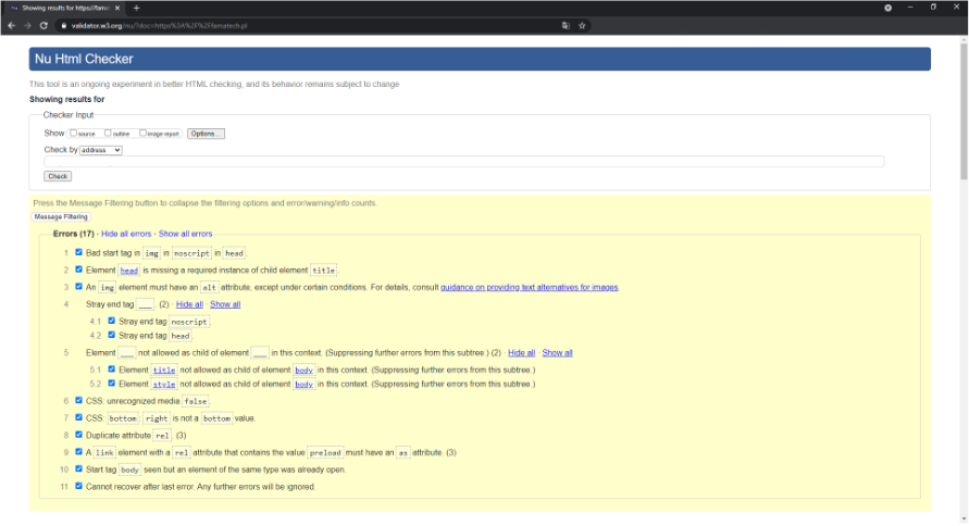 Zrzut ekranu z aplikacji do badania poprwaności kodu HTML
