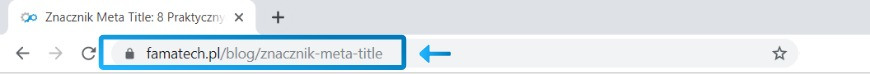 Adres URL w pasku wyszukiwania przeglądarki Chrome