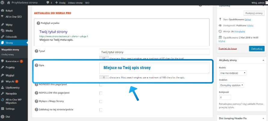 Dodawanie opisu strony w Wordpressie za pomocą All in One SEO Pack