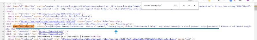 Opis strony www w kodzie HTML