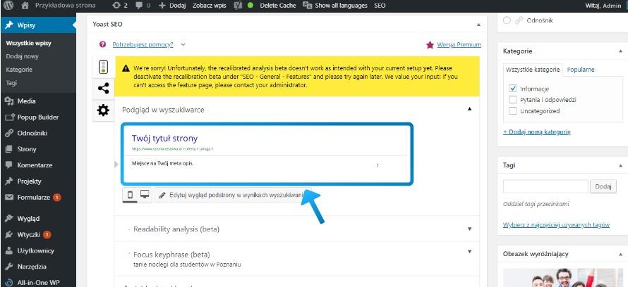 Sekcja dodawania meta tagów w Yoast SEO Wordpress