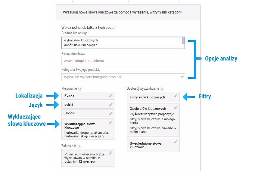 Ustawienia wyszukiwania w Google Keyword Plannerze