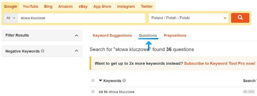 Sugestie fraz w postaci pytań w Keywordtool.io