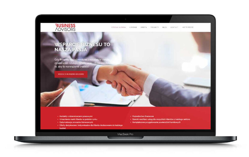 Business Advisors - wygląd na urządzeniach stacjonarnych
