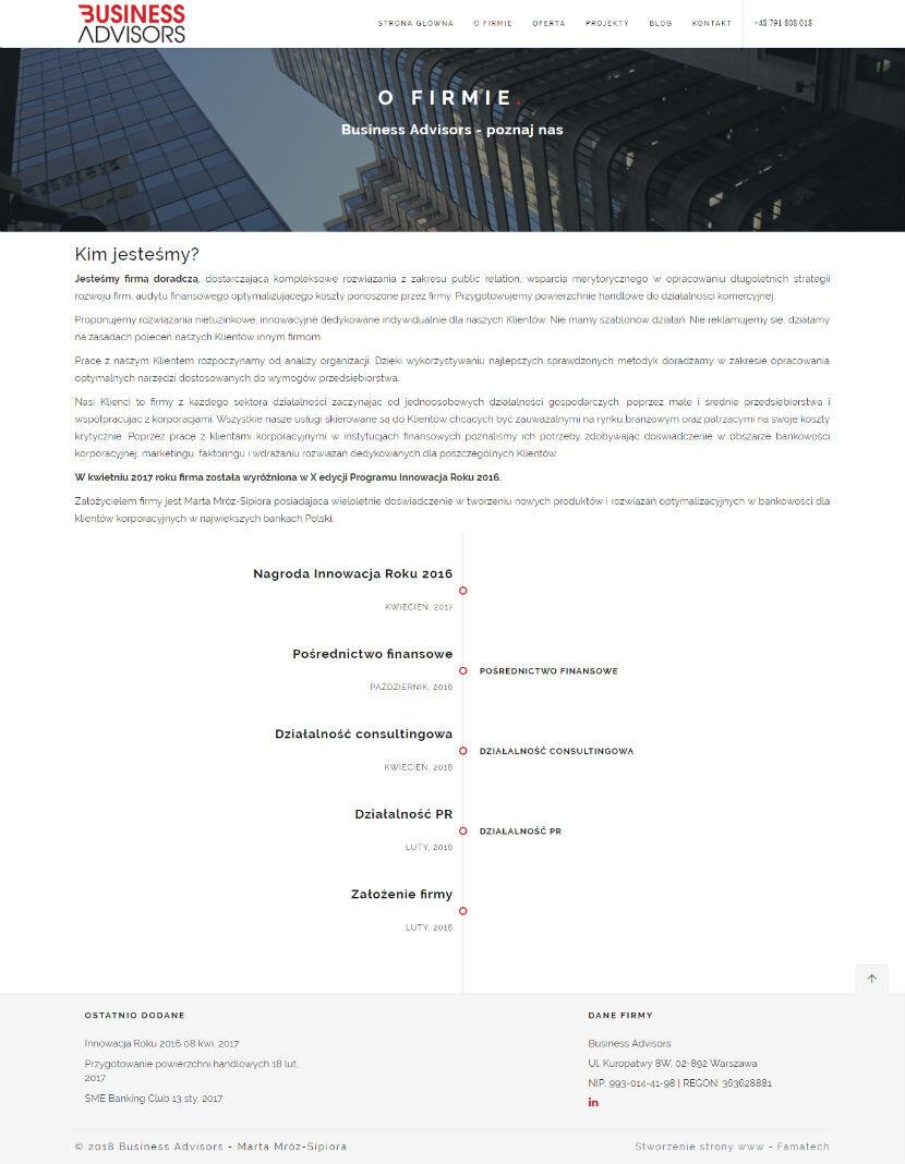 """Business Advisors - wygląd strony """"o firmie"""""""