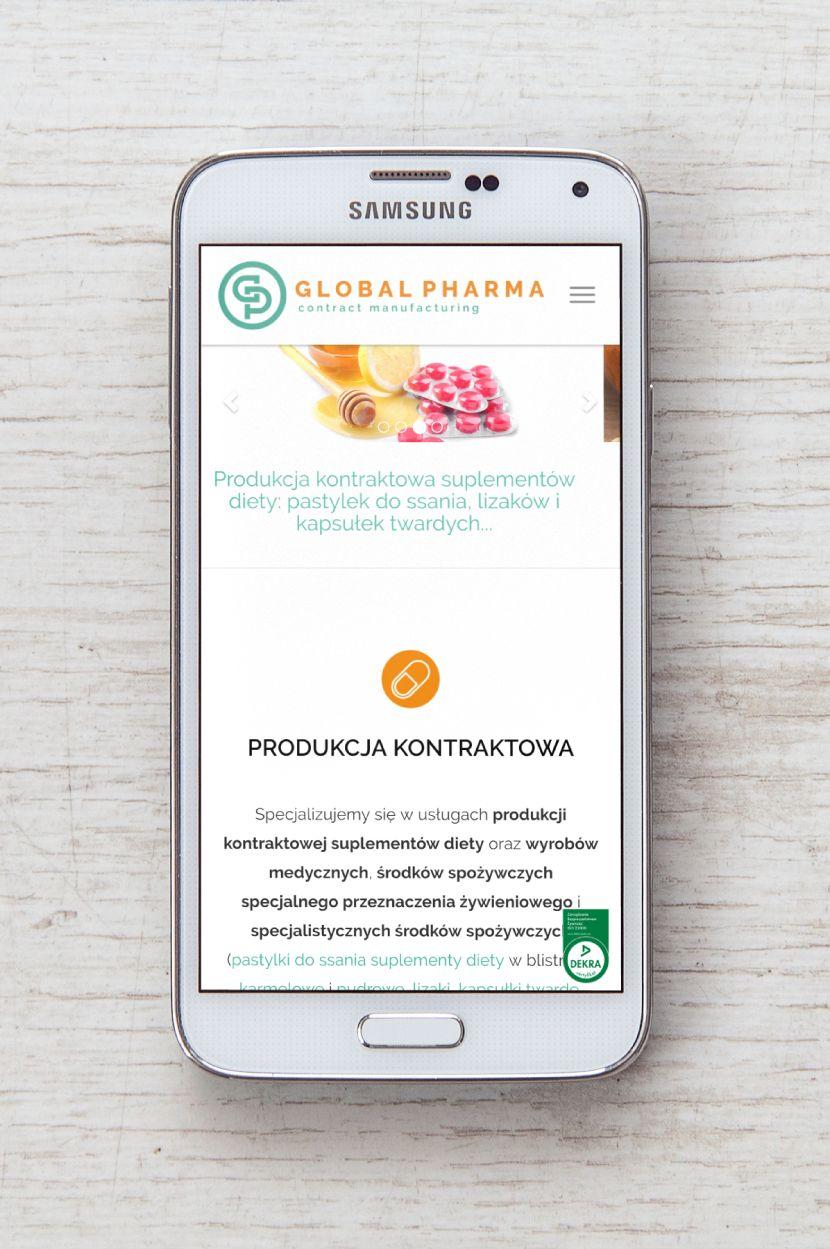 Global Pharma - wygląd na urządzeniach mobilnych