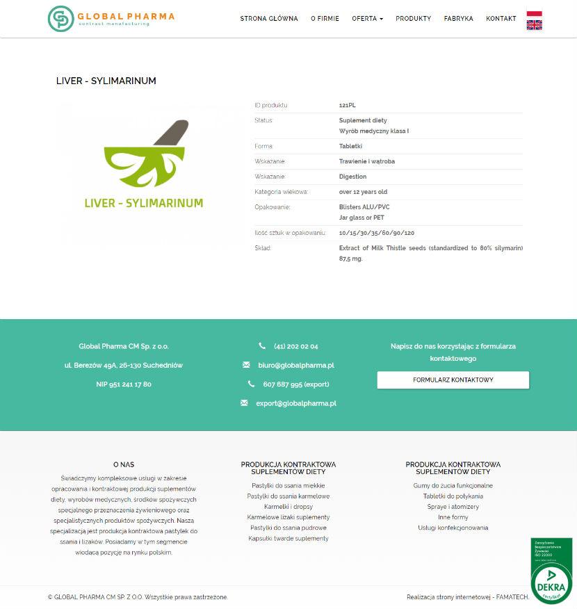 Global Pharma - wygląd strony produktu