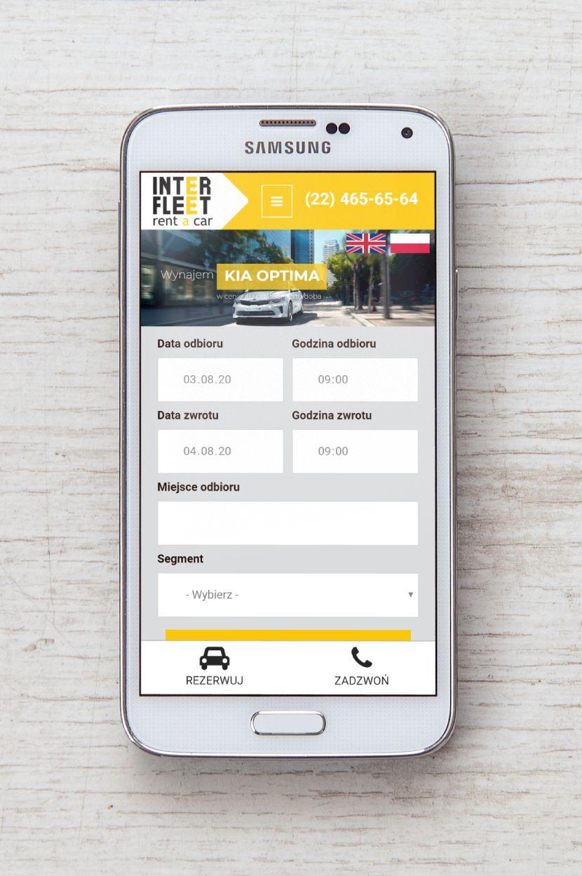 Interfleet - wygląd strony na urządzeniach mobilnych