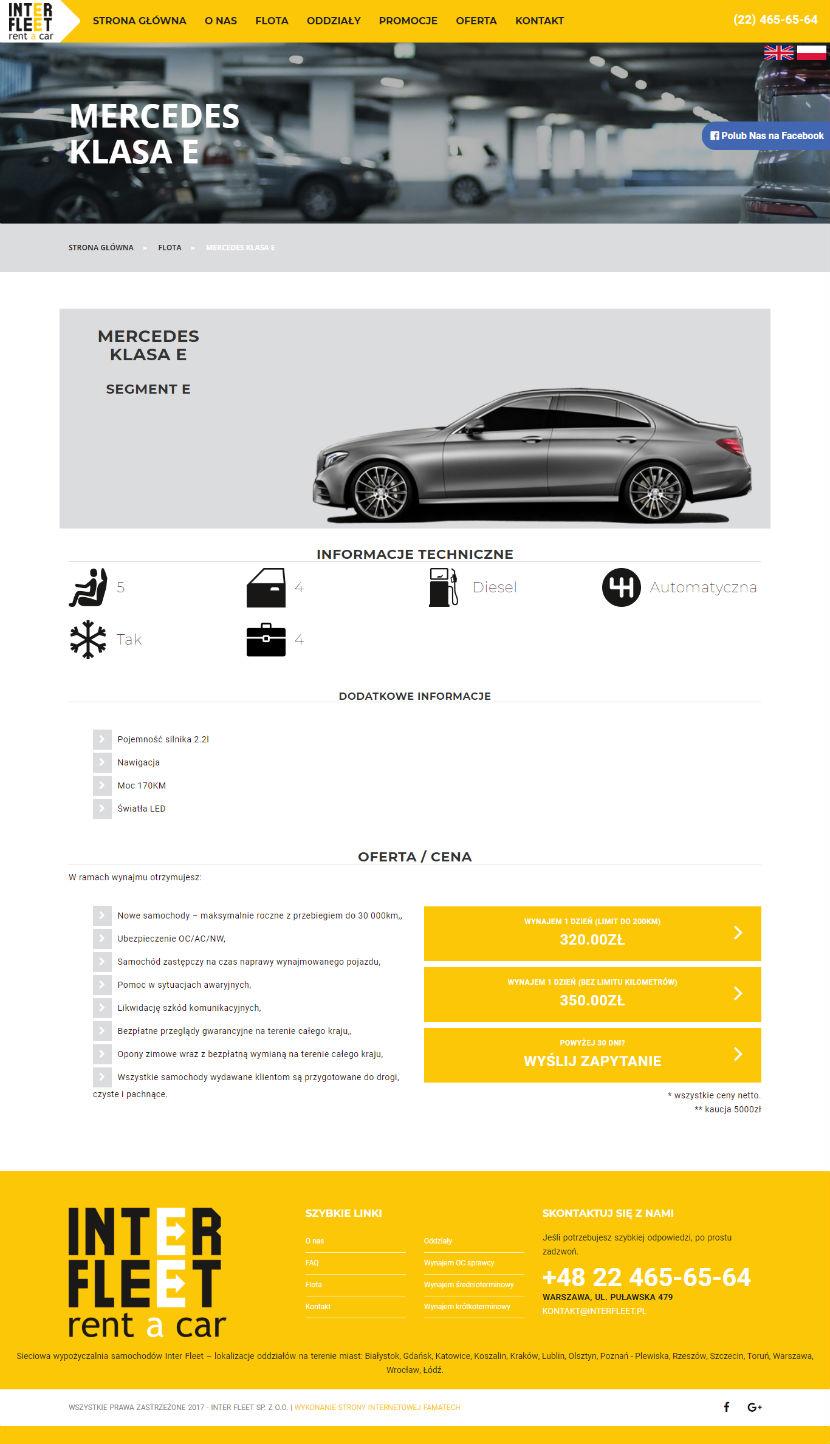 Interfleet - prezentacja strony pojedynczego samochodu