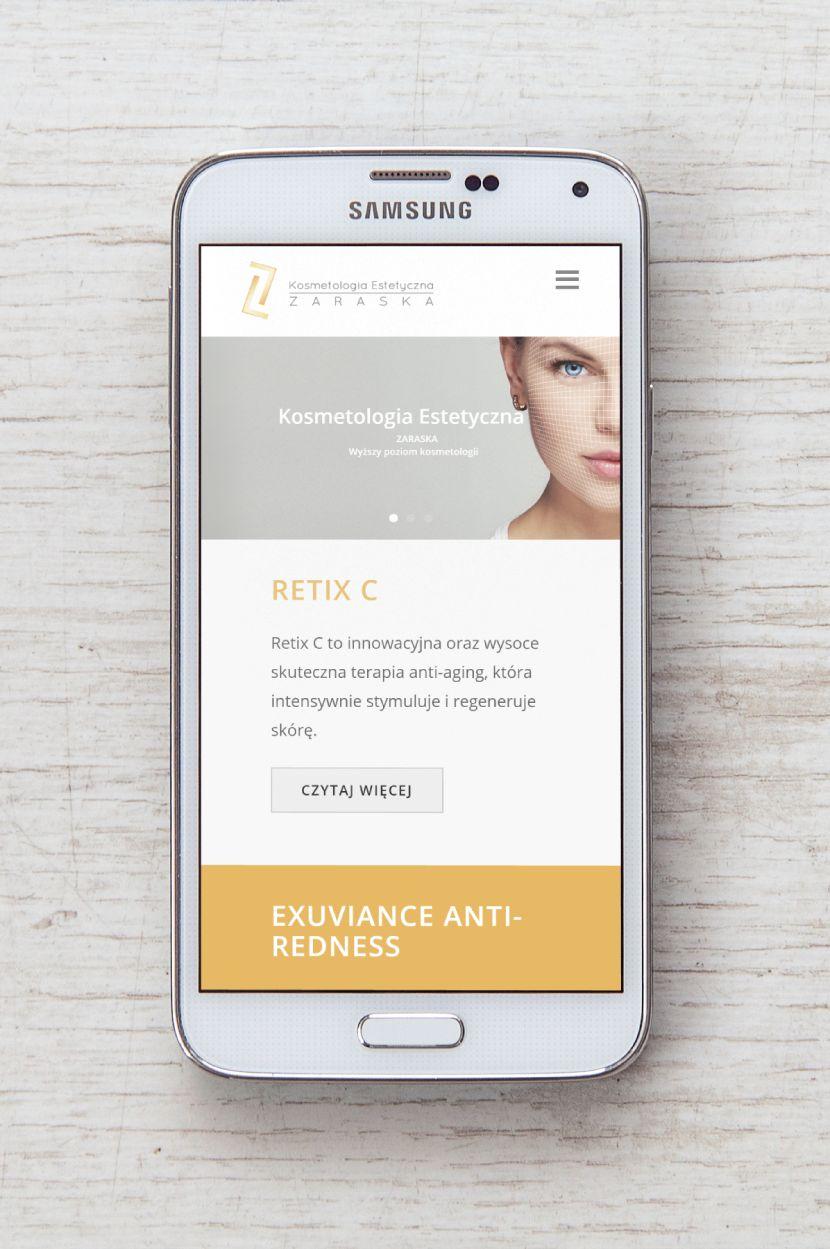 Zaraska - wygląd strony na urządzeniach mobilnych
