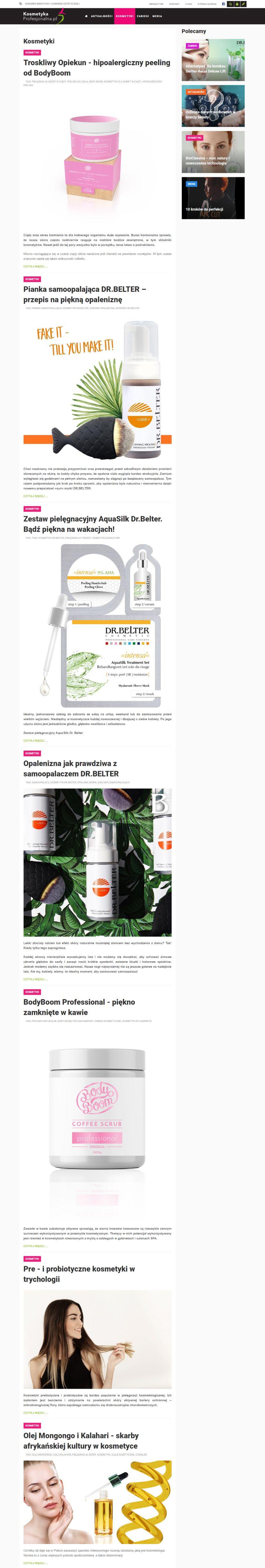 Kosmetyka Profesjonalna - wygląd strony kategorii