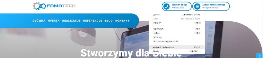 Sprawdzanie źródła strony w przeglądarce