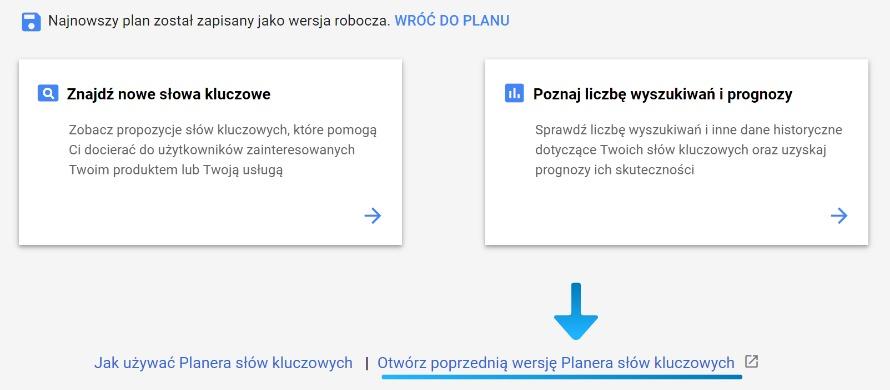 Stara wersja Planera Słów Kluczowych Google