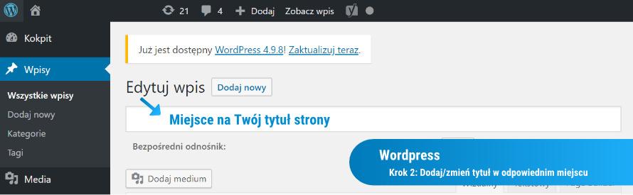 Zmiana Title w Wordpressie: Krok 2